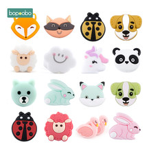 Bopoobo 5pc BPA Free Silicone Beads Mini Cloud Baby Teething Toys Fox Flower Puppy Owl Silicone Rodent Tiny Rod Baby Teether(China)