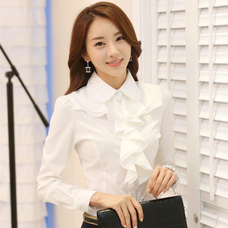 New Arrivals 2015 Korean Style Office Work Wear Fashion Elegant Ruffles Long Sleeve Women White