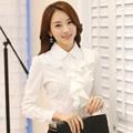 New Arrivals 2015 Korean Style Office Work Wear Fashion Elegant Ruffles Long Sleeve Women White Blouse Black Bodysuit Shirt