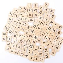100 шт./компл. английские слова деревянный буквенный Алфавит плитки черные буквы для игры в слова и цифры для ремесел леса