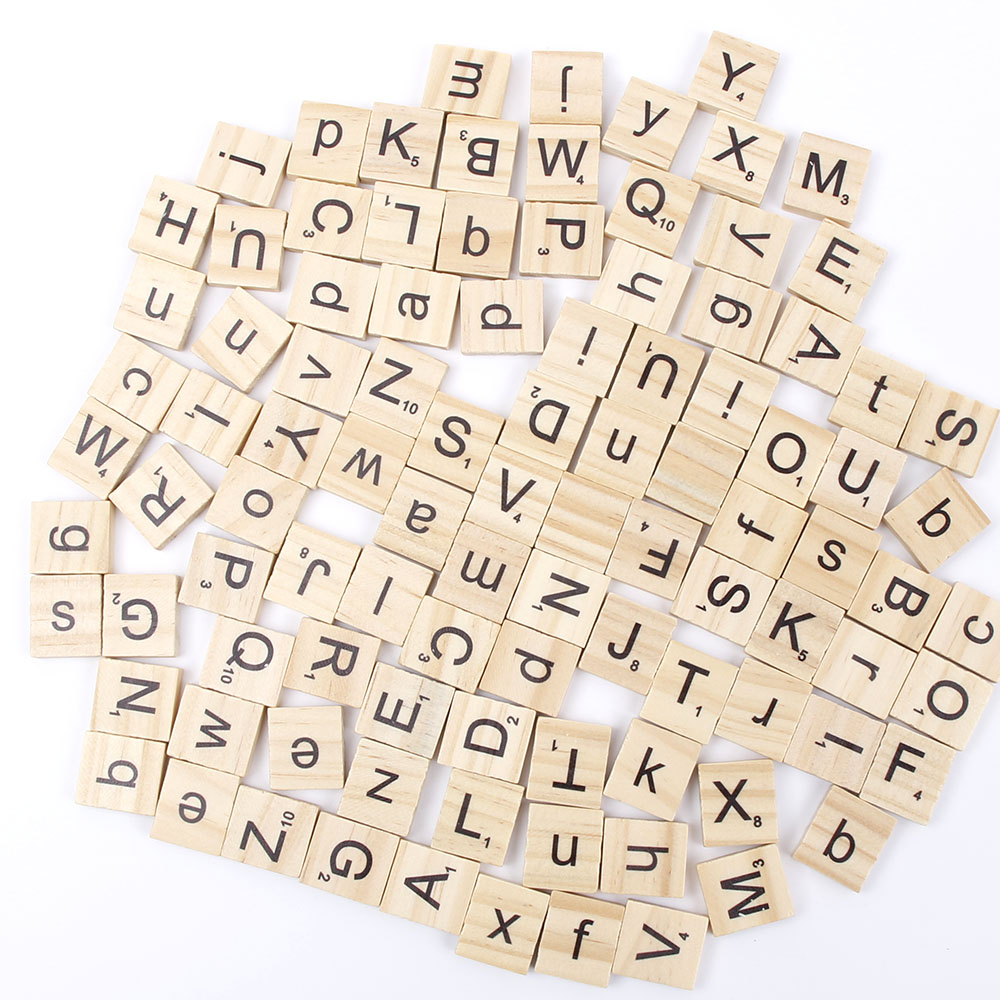 Us 3 11 Off 100pcs Set English Words Wooden Letters Alphabet Tiles Black Scrabble Numbers For Crafts Woods In Decorative