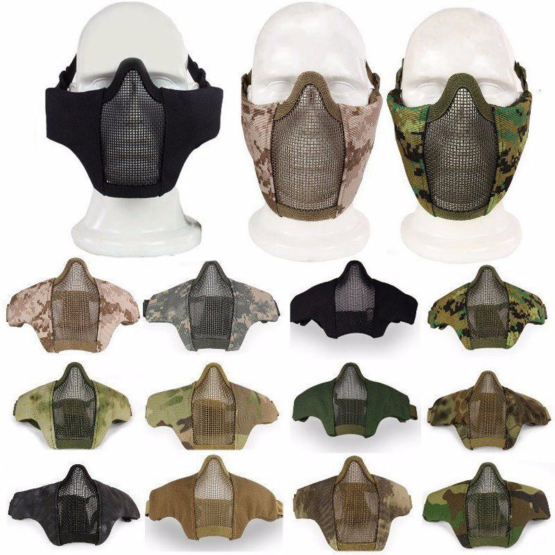 Ny Tactical Half Face Metal Stål Nät Mask Mask Jakt Protective Guard 1000D Nylon Mask Skal till Airsoft Paintball 12 Färg