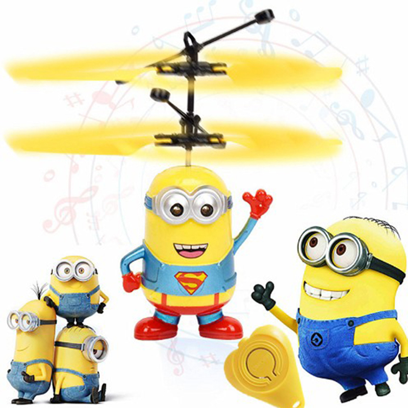 Mini RC drone Flying RC Helicopter Aircraft Minion dron Infrared Induction LED Light Remote Control drone dron Kids Toys Gift все цены