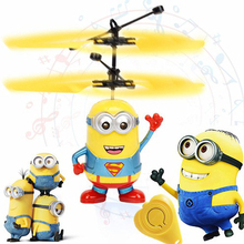 Mini RC drone Flying RC Helicopter Aircraft Minion dron Infrared Induction LED Light Remote Control drone dron Kids Toys Gift (China)