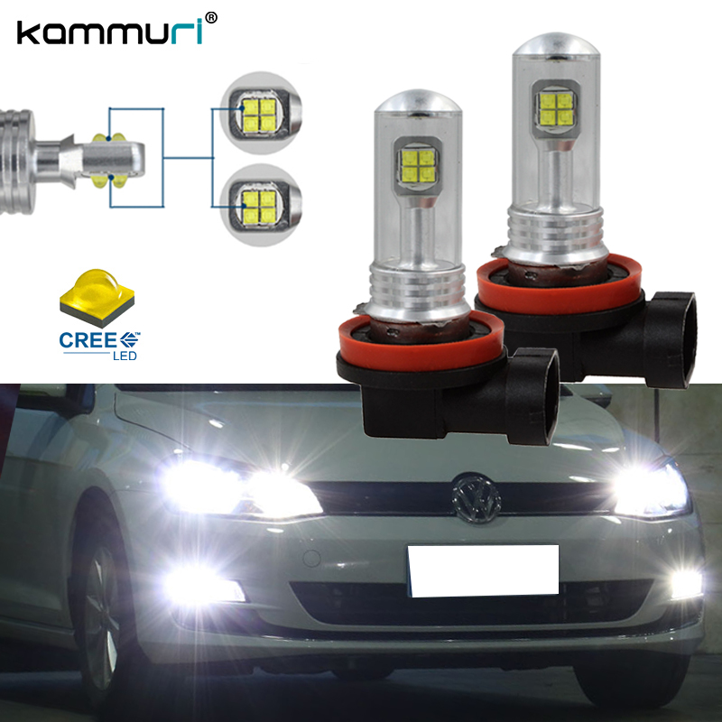 KAMMURI (2) Super bright 6000K White 80W H8 H9 H11 LED Fog Lights Driving DRL Lamps For VOLKSWAGEN Beetle CC Golf Passat Touareg