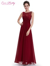[Clearance Sale] Ever Pretty Evening Dresses HE08680BD Elegant Beautiful Burgundy Red O-Neck Long Floor Length Party Dresses