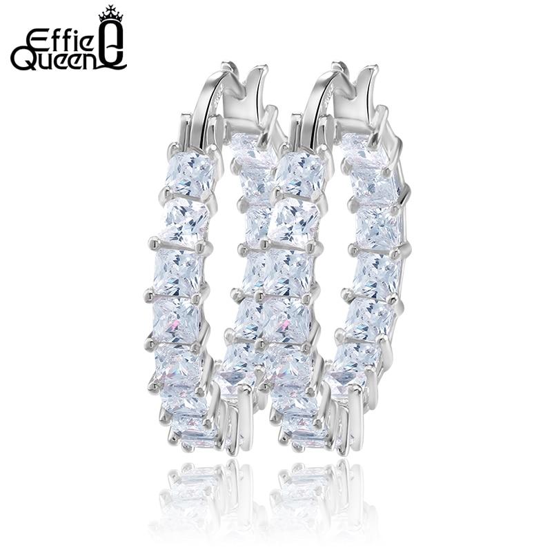 Effie Queen Liels apaļas stīpas sieviešu auskars Eternity stils ar - Modes rotaslietas - Foto 2