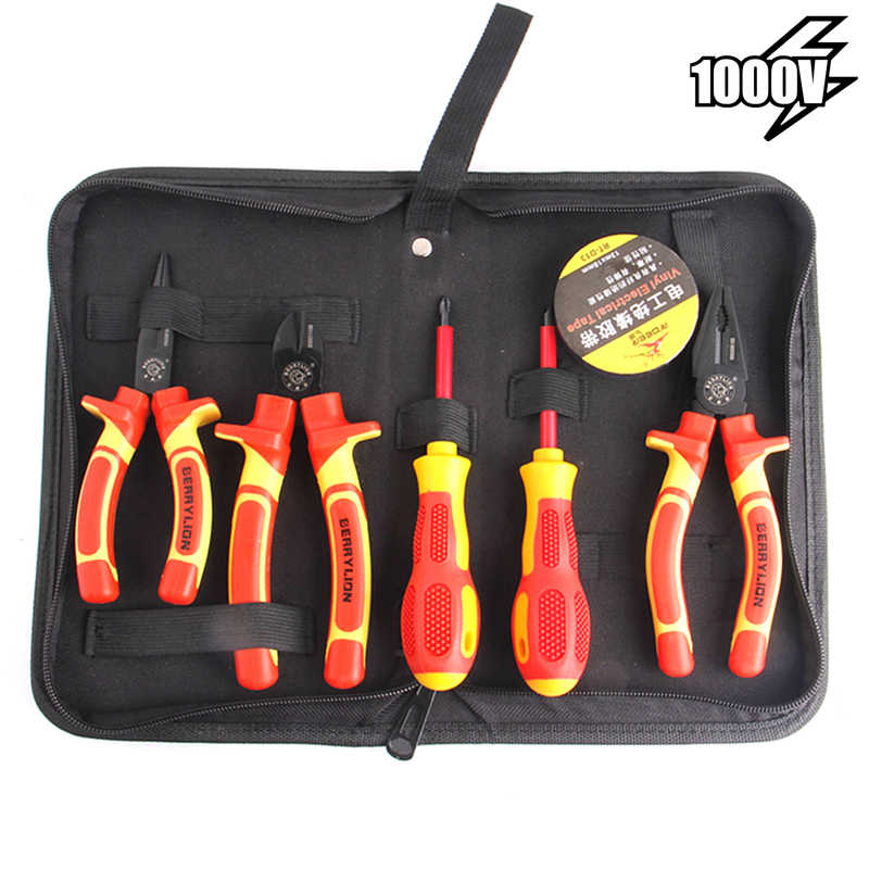 7pcs VDE Insulated Combination Pliers Set Withstand 1000V Voltage For Crimping Cutting Stripping Wire Electrician Hand Tools Kit