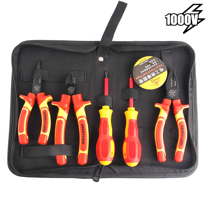 7pcs VDE Insulated Combination Pliers Set Withstand 1000V Voltage For Crimping Cutting Stripping Wire Electrician Hand Tools Kit7pcs VDE Insulated Combination Pliers Set Withstand 1000V Voltage For Crimping Cutting Stripping Wire Electrician Hand Tools Kit