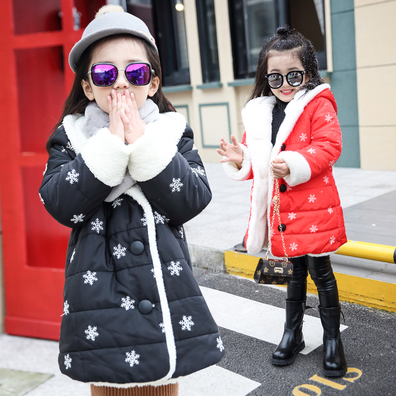 ФОТО Girls Winter Cotton Cashmere Thickened Children New Year Lamb Thick Kids Jacket Coat Clothing Snow Flowers Printed Red Black
