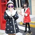 Niñas de Algodón de Invierno Cachemir Engrosado Niños Año Nuevo Cordero Gruesa Ropa de Abrigo Niños Chaqueta de Nieve Flores Impreso Rojo Negro