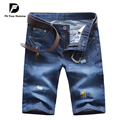 Pantalones Cortos de los hombres 2016 Del Diseñador de la Llegada Jeans Hombres del verano Ultra Delgado Pantalones Vaqueros Rectos de Los Hombres pantalones cortos de Fitness Pantalones Moda Jeans Solid