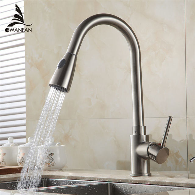 Kitchen Faucets Brass Brushed Nickel 1 Hole Kitchen Sink Faucet