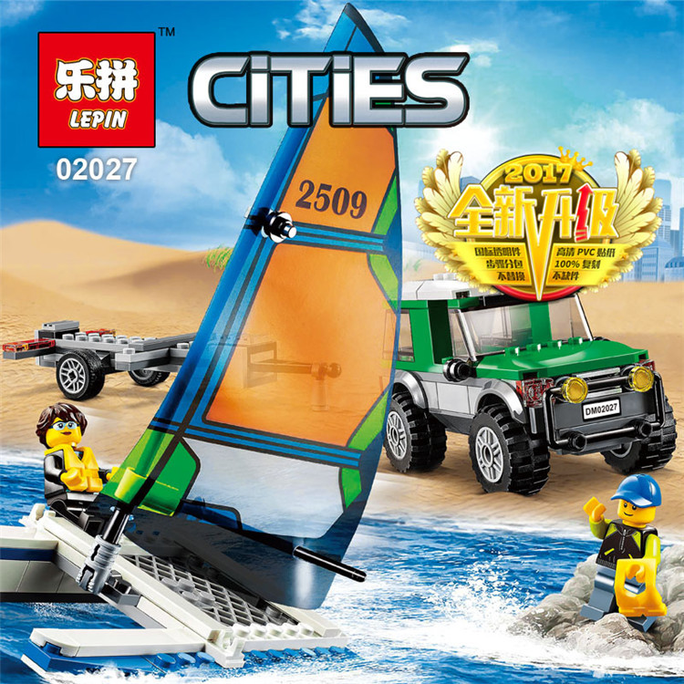 LEPIN City Great Vehicles 4x4 with Catamaran Building Blocks Sets Bricks Kids Model Kids Figures Toys Compatible Legoing lepin 02012 city deepwater exploration vessel 60095 building blocks policeman toys children compatible with lego gift kid sets