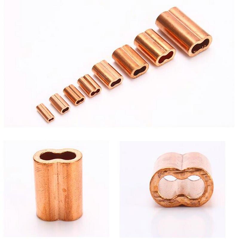 HQ CF01 Красный медный 8 форма с двойными отверстиями трос наконечник рукав трос зажим(для 0,5-5 мм трос кабель