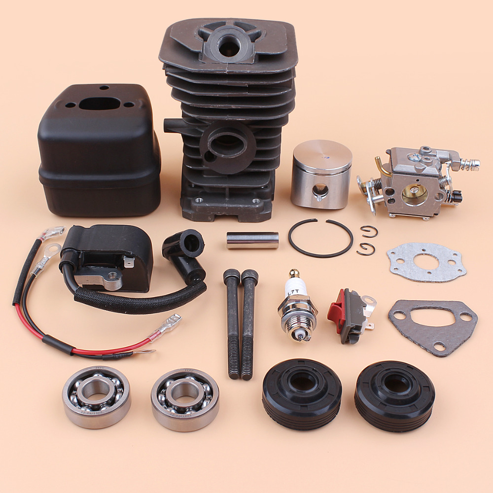 Cylinder Piston Ignition Coil Muffler Exhaust Crankshaft Oil Seal Bearing For HUSQVARNA 136 137 141 Chainsaw Rebuild Kit -38MM chainsaw module ignition coil wire kit for husqvarna 36 41 136 137 141 142 chainsaw 530039239