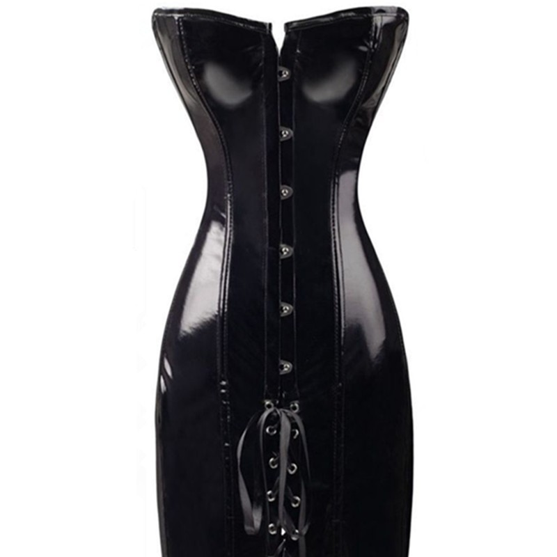 26dc29a71cf 2016 Steampunk Long Wetlook Vinyl Pvc Corset Dress Sexy Corsets And Bustiers  Chest Binder Black Faux