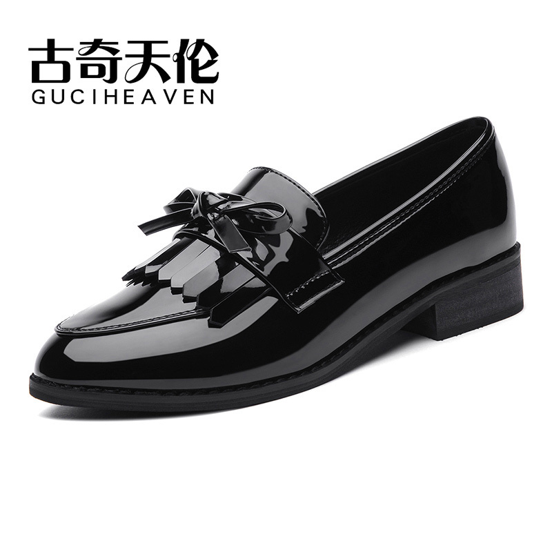 Guciheaven 8471 New Hot Women Leather Flats Comfortable Round Toe Casual Footwear Slip-On OL Shoes With Bowtie Black Wine Red