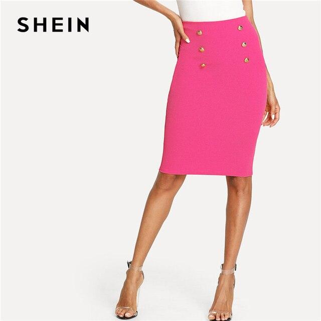 54c6a3073 SHEIN Bright Hot Pink Double Button Pencil Skirt Women Knee Length Plain  Bodycon Bottom Skirts 2018 Summer Elegant Pencil Skirt