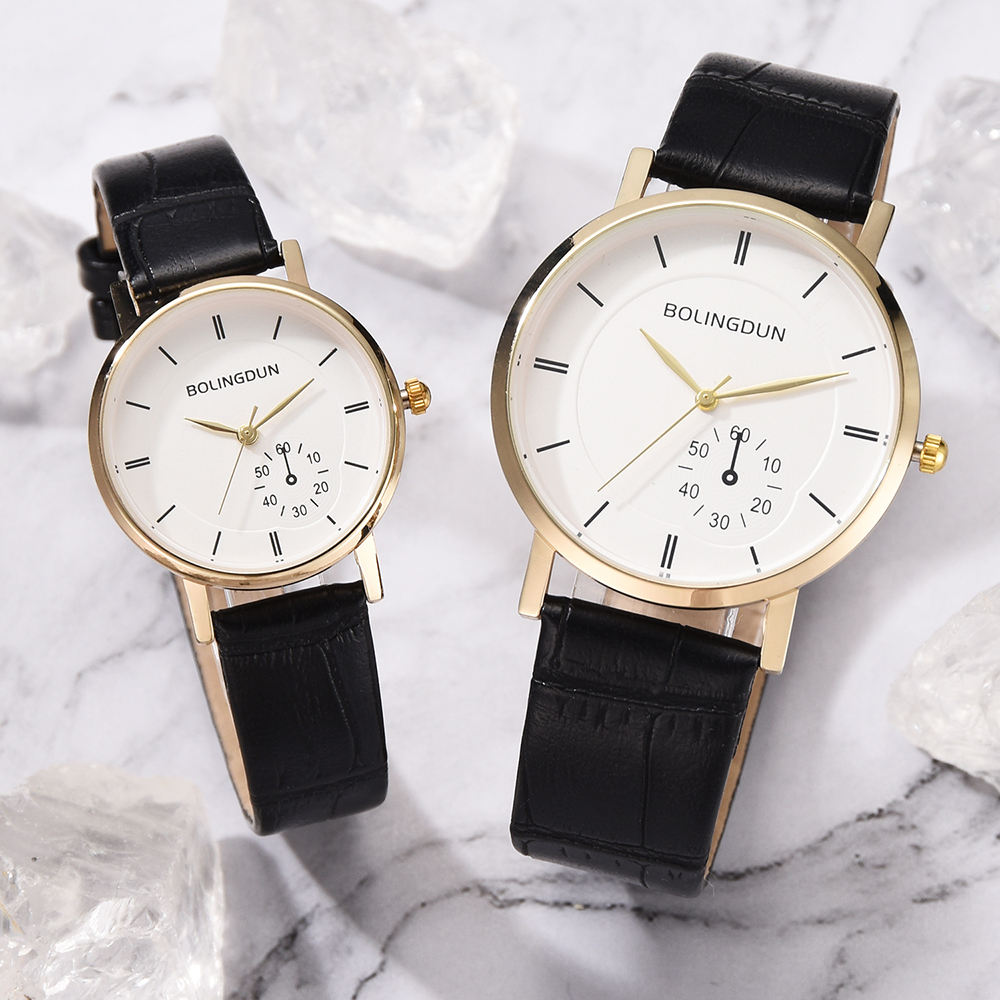 lover's Watches 2PCS Set For Women Man Fashion Leather Retro Design Quartz Clock Ladies Sports Wrist Watch relogio masculino