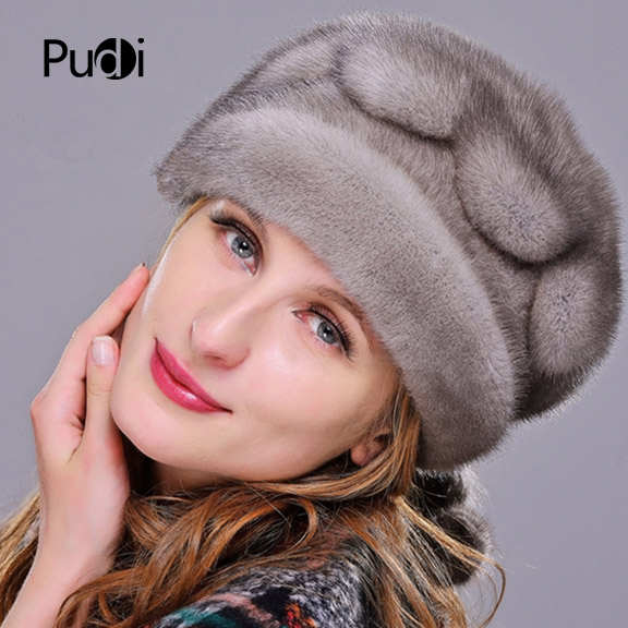 HM020 Winter hats for women  Real genuine mink  fur hat  women's winter hats whole piece mink fur hats 3