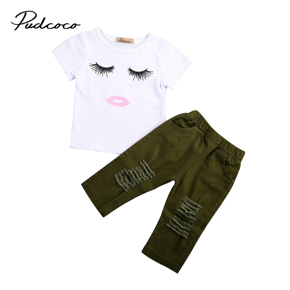 Toddler Baby Girls Eyelash Tops T Shirt Hole Long Pants Outfits Clothes Set Children Clothing Clothes For Girls Clothes For Clothes For Girlsclothes Set Aliexpress
