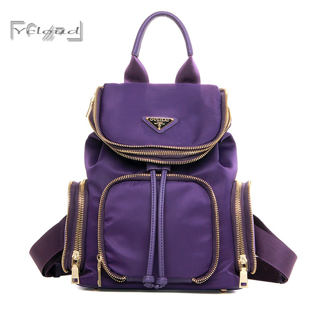 2016 NEW Fashion Casual Double zipper women purple Nylon shoulder bag  Schoolbag Preppy Style Girl backpack 6c9b1e0613eeb