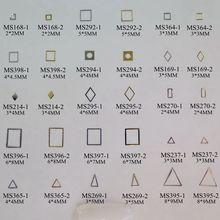 100 шт./пакет серебро/золото геометрические формы квадратный алмаз прямоугольник треугольник не клейкая мягкая металлическая наклейка украшение для ногтей