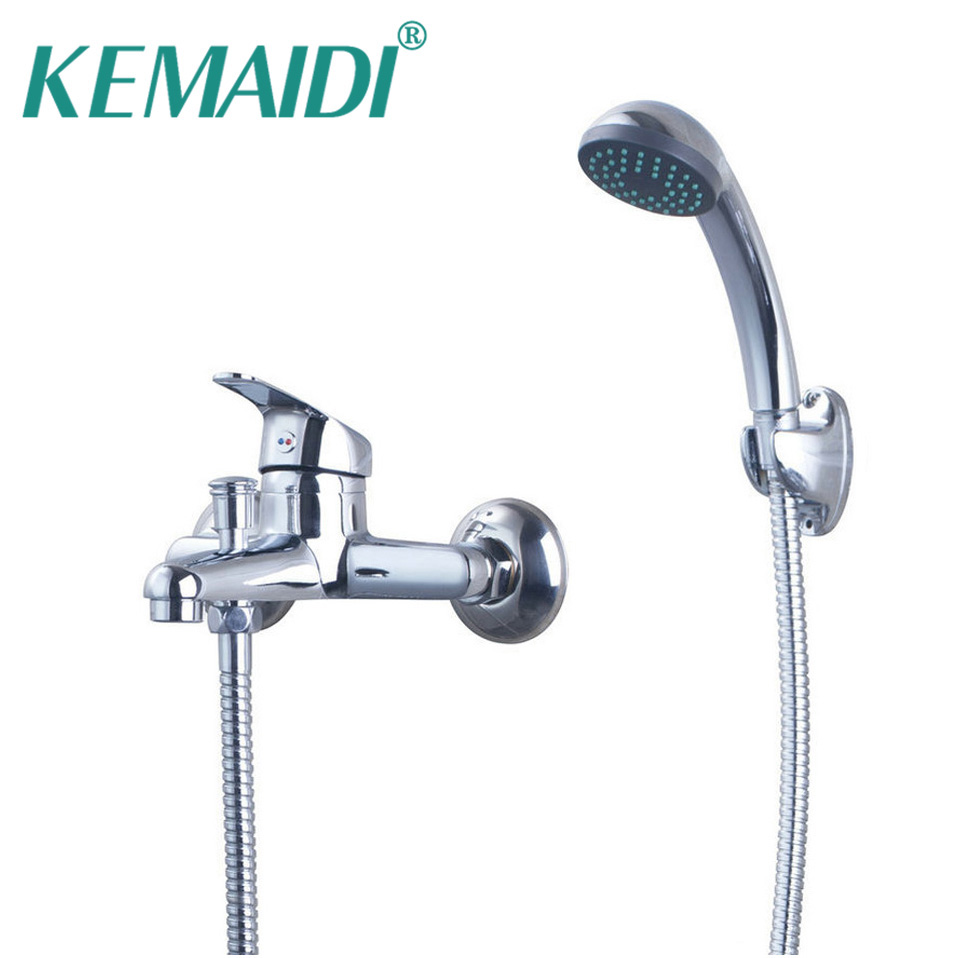 KEMAIDI Luxury Hand Shower Set Chrome Polished Bathroom Shower Set Bathtub Wall Mounted Bathroom Faucet Hot Cold Mixer Tap polished chrome double cross handles wall mounted bathroom clawfoot bathtub tub faucet mixer tap w hand shower atf902