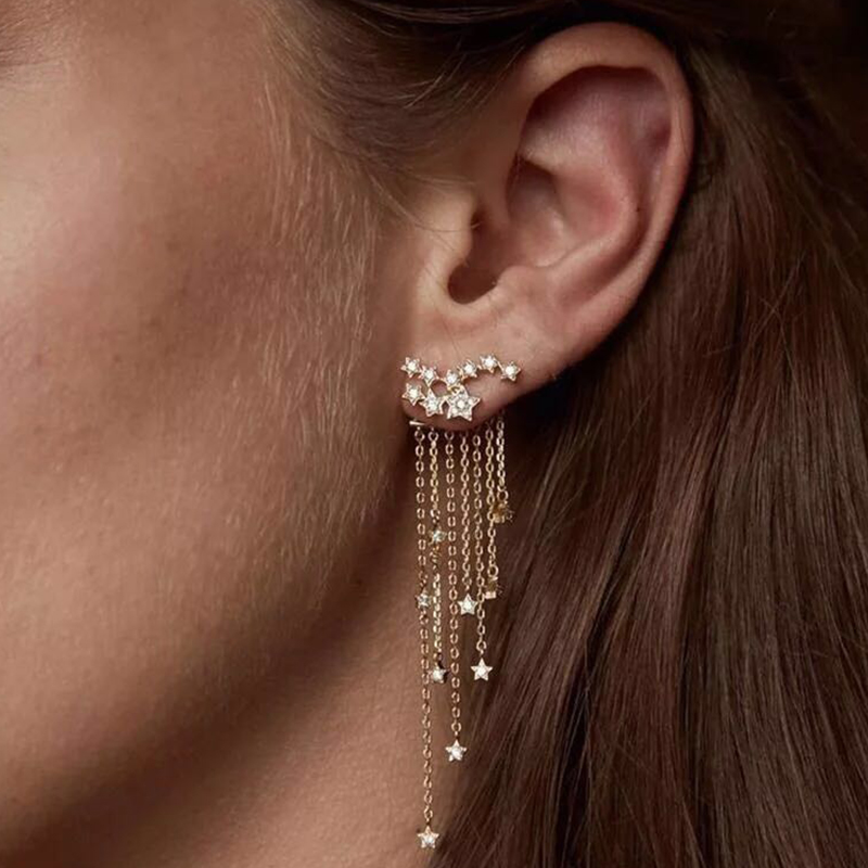 Mariposa Cristal Clip de oreja de flecos Aretes Largos hueco Arito Elegante Joyería