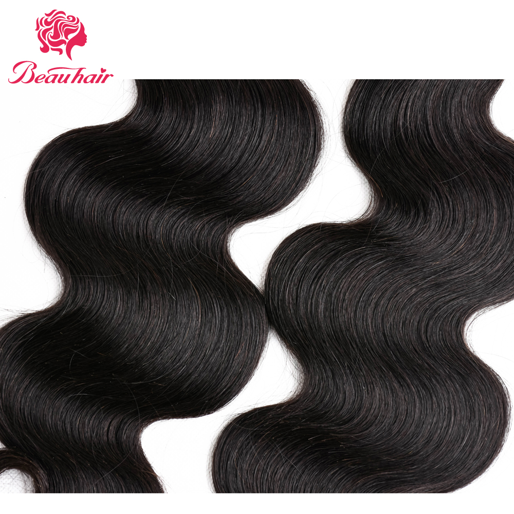 Beauhair Peruvian Body Wave 2 Bundles With Lace Frontal 13x4 Ear To Ear Free Part Human Hair Extensions Natural Color
