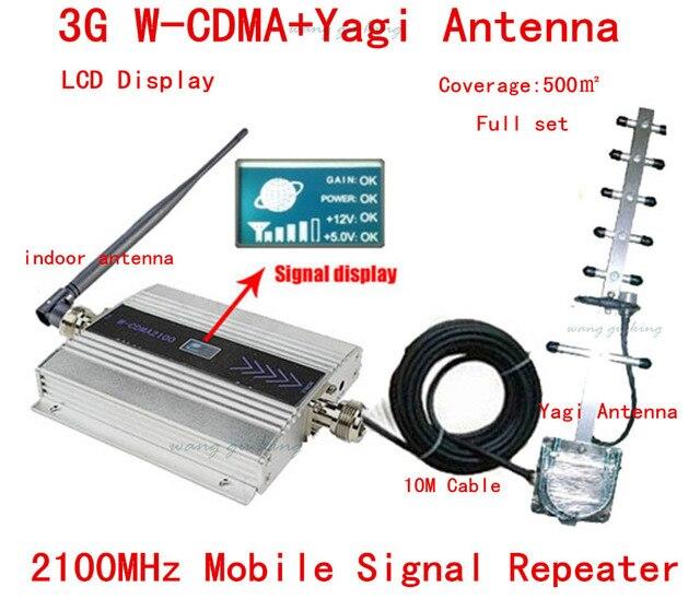 ГОРЯЧАЯ! Полный комплект 3 Г WCDMA UMTS 2100 МГЦ ЖК Ретранслятор Сотового Телефона мобильный Сигнал Повторителя/Amplifier/booster + Антенна Yagi + 10 м кабель