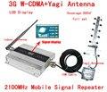 CALIENTE! conjunto Completo 3G WCDMA UMTS 2100 MHZ LCD Repetidor Del Teléfono Celular móvil Repetidor de Señal/Amplificador/booster + Antena Yagi 10 m Cable
