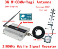 HOT!Full set 3G UMTS 2100MHZ WCDMA LCD Repeater Cell Phone Mobile Signal Repeater / Amplifier / booster +Yagi Antenna +10m Cable