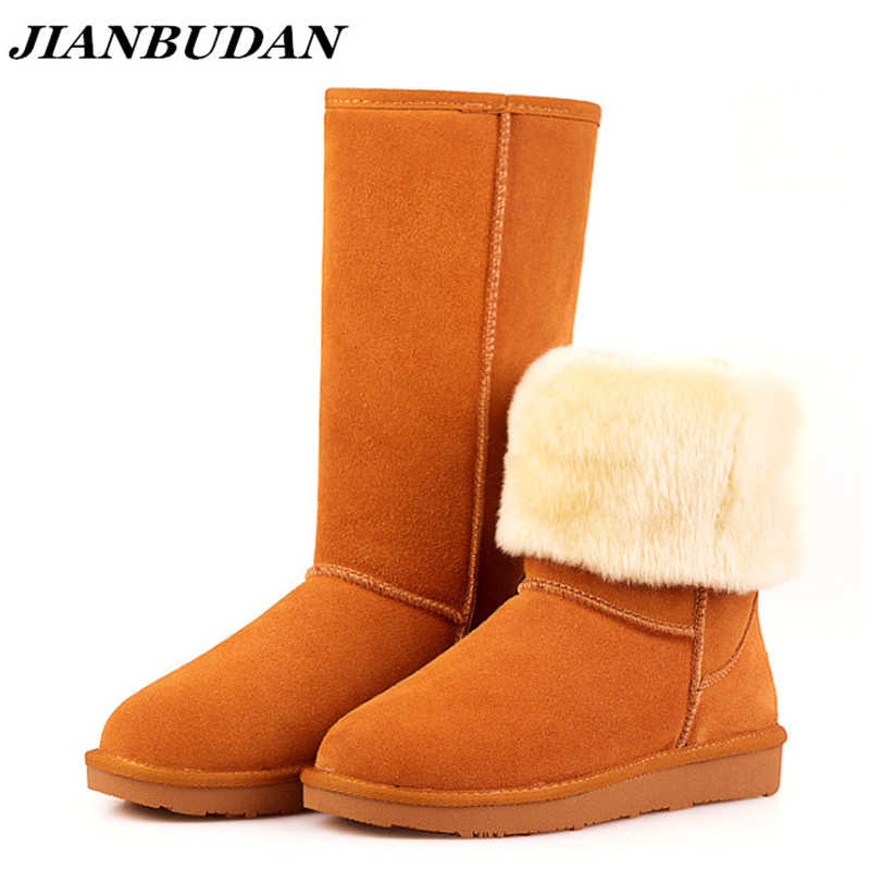 Genuine Leather Women's winter high boots High-quality Cowhide snow boots 2020 new brand design Plush fur Flat bottom warm boot