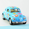 KINSMART 1:32 Alloy Diecast Models Car Toys, Pull Back Cars, Doors Openable Printing Beetle Toy