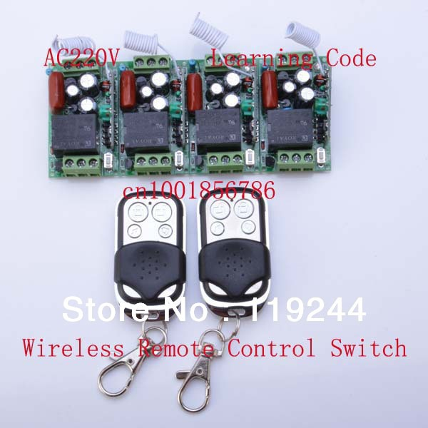 220V 1CH 10A RF Wireless Remote Control Power Switch System ;4 Receivers(Mini size)+2Transmitter M T L output state is adjusted