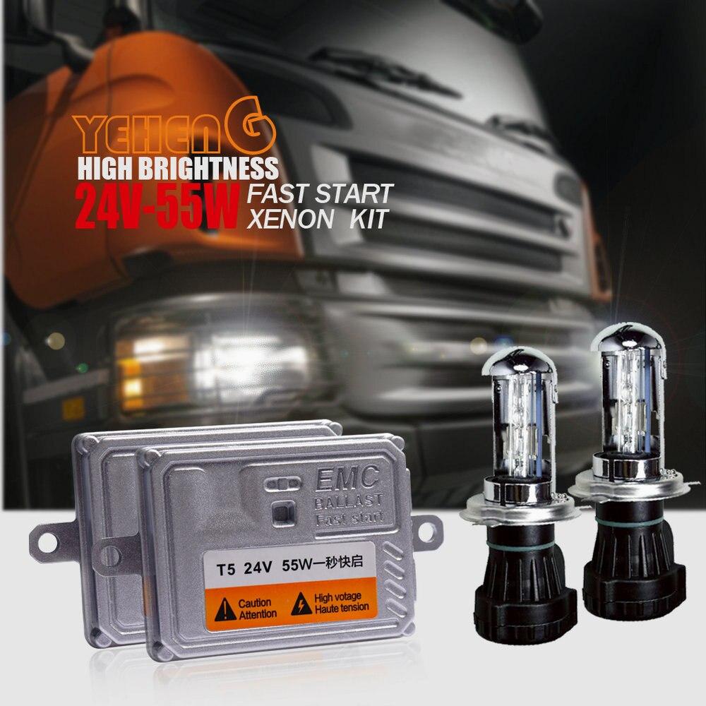 1 Set 24 V 55 W AC démarrage rapide grands camions HID H4 bi-xénon Kit phare H4 hi/lo H1 H3 H7 H8 H9 H10 H11/9005/9006/HB3/HB4 ampoule
