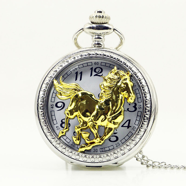 Luxury Running Golden Horse Quartz Pocket Watch Zodiac Chinese Style Necklace Jewelry Steampunk Men Women Gifts With Chain