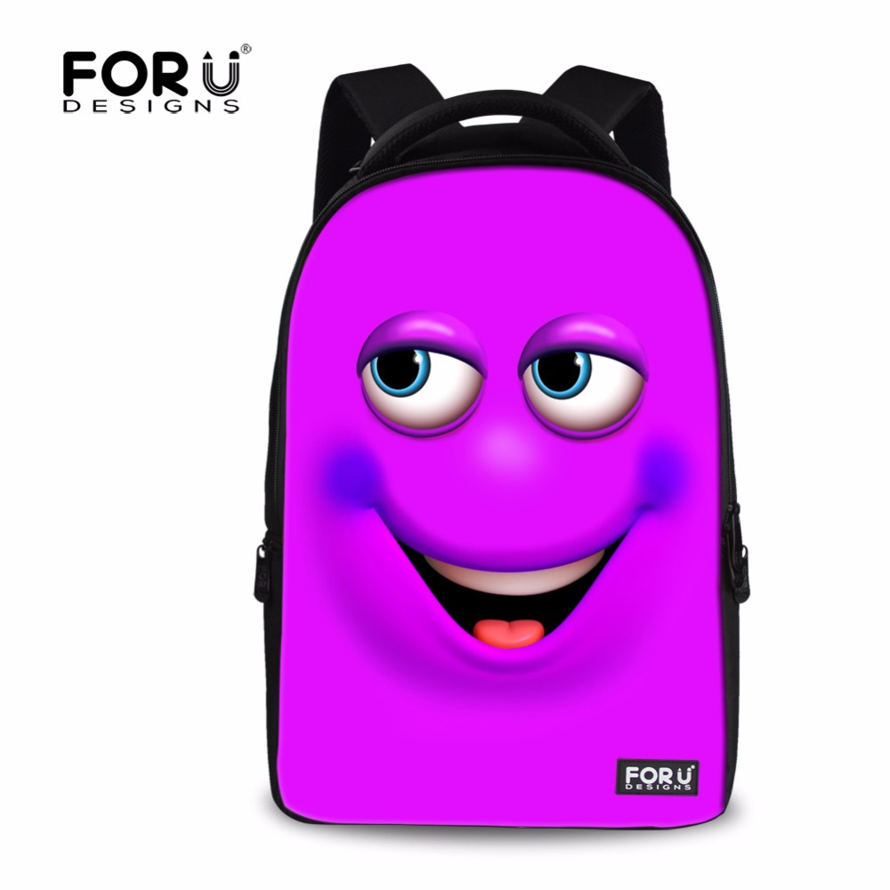 FORUDESIGNS Emoji School Bags for Teenager Girls Boy,Children Kids 15 Inch Large Scoolbag Funny Printing Men Women School Bag