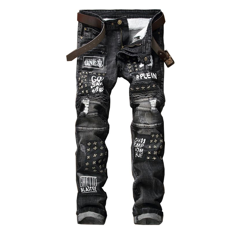 Mcikkny Fashion Men's Punk Jeans Pants Rivet Embroidery Denim Trousers Patchwork Pleated Jeans For Male Letter Printed