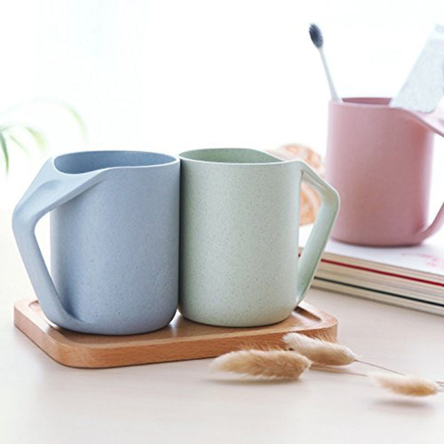 400ml Milk Drinking Water Coffee Mugs Coffee Wheat Straw Plastic Bathroom Tumblers Toothbrush Cup Holder for Home Travel Hotel