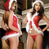 2016 Christmas Hooded sexy underwear perspective gauze Christmas clothes Christmas girl sexy fun pajamas free delivery A478