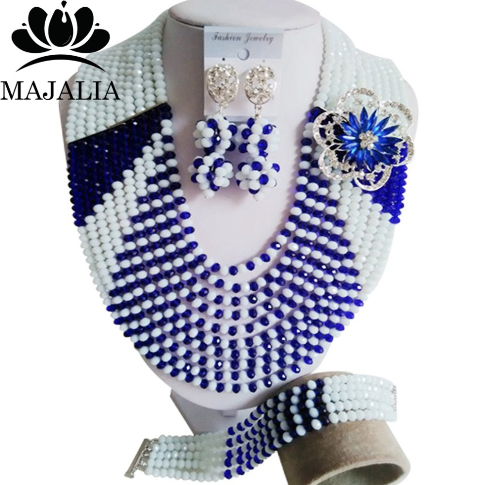 Luxury African beads jewelry set Royal Blue Crystal beads bride jewelry nigerian wedding african beads jewelry Set EX-041Luxury African beads jewelry set Royal Blue Crystal beads bride jewelry nigerian wedding african beads jewelry Set EX-041