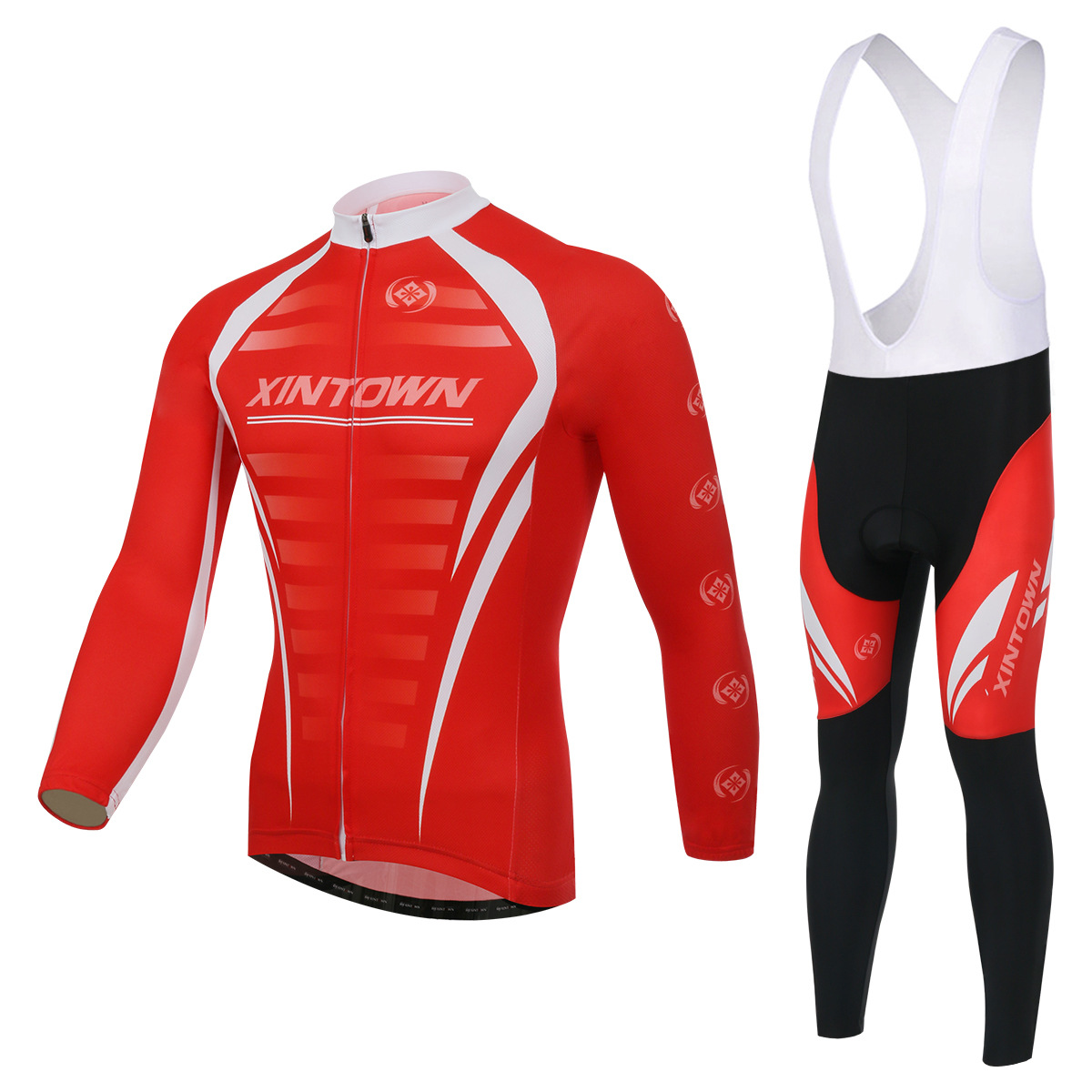 Cycling Set Long Sleeve Jersey and Bib Pants 3D Pad Pro Men Anti-sweatXINTOWN Red Ciclismo Bike Suit Bicicleta Bicycle Clothes