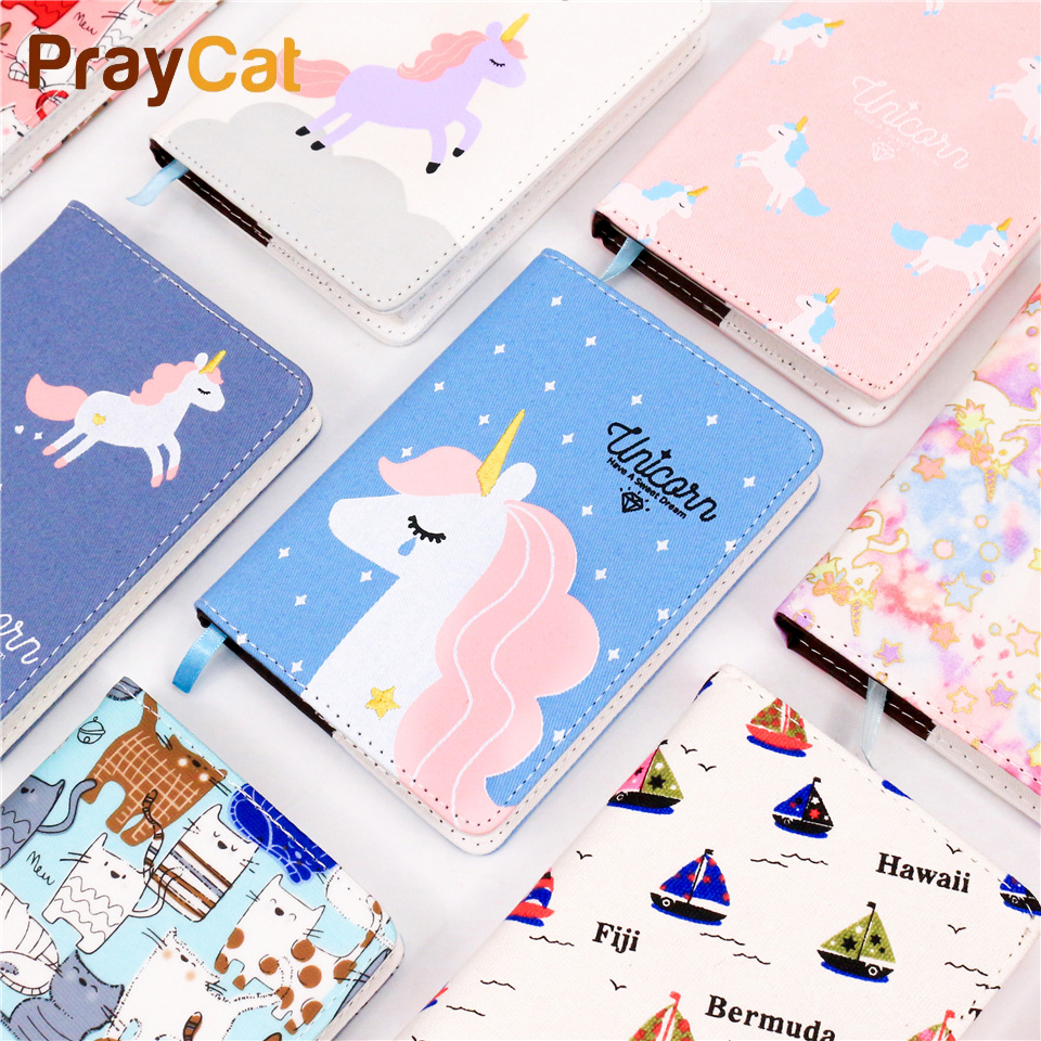 A6 Kawaii Cloth Cover Diary Notebook Cute Unicorn Animal Travel Journal Colored Pages Korea Notepad Gift School Supplies