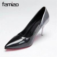 FAMIAO 2017 Marque Chaussures Femme 7 cm Talons hauts Femmes Pompes Stiletto Talon Mince Chaussures de Femmes Bout Pointu Talons hauts De Mariage chaussures