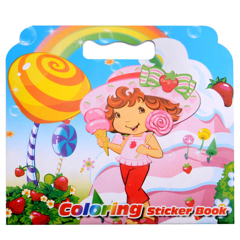 16Pages New Strawberry Girl Coloring Sticker Book