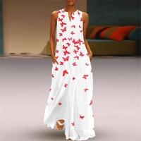 New Printed White Maxi Dress Women Beach Summer Dress 2019 Plus Size Sleeveless Ladies Long Dresses Cotton Boho Dress HC154