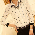 Alta Qualidade Mulheres Blusas Casual Impresso Chiffon Camisa Blusa Mulheres Tops Blusas Plus Size S-4XL Camisas de Manga Comprida Blusa # B61